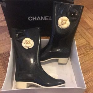 Chanel camellia rain and snow boots!
